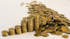 goldene thailändische Münzen Stockfotografie