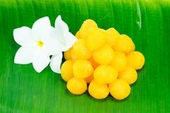 Goldene thailändische Süßspeise Lizenzfreies Stockfoto