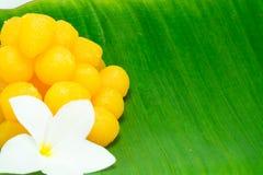 Goldene thailändische Süßspeise Lizenzfreies Stockbild