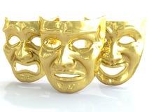 Goldene Theatermasken, die Gefühle darstellen 3d übertragen Stockbilder