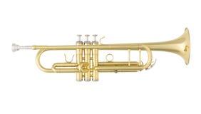 Goldene Trompete lokalisiert auf weißem Hintergrund lizenzfreie stockfotografie