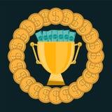 Goldene Trophäe Schale mit Goldmünzen und Dollarscheinen lizenzfreie abbildung