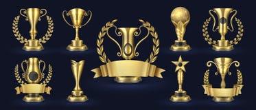 Goldene Troph?e Realistischer Meisterpreis, Wettbewerbsiegerpreise mit Lorbeerformen, Fahne der Preise 3d Goldene Schale des Vekt vektor abbildung
