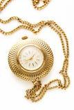 Goldene Uhr der Tasche mit Kette Stockfoto