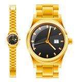 Goldene Uhr mit Armband Stockfotos