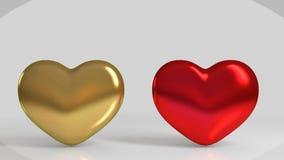 goldene und rote glänzende Herzform 3d Stockfoto