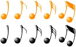 Goldene und schwarze Musikpunkte Stockbild