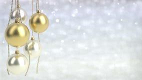 Goldene und silberne Weihnachtsbälle mit bokeh Hintergrund Nahtlose Schleife 3d übertragen stock abbildung