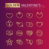 Goldene Valentinsgruß-Tagesikonen eingestellt Lizenzfreies Stockbild