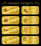 Goldene Vektor-Kino-Karten Stockfoto