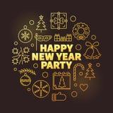 Goldene Vektorillustration des guten Rutsch ins Neue Jahr-Parteientwurfs vektor abbildung