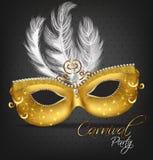 Goldene verzierte Maske mit Federn Vektor realistisch Stilvolle Maskerade-Partei Mardi Gras-Karteneinladung Eine Designschablone, vektor abbildung