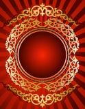 Goldene Verzierung auf rotem Hintergrund Lizenzfreies Stockbild