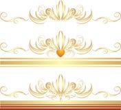 Goldene Verzierungen für drei dekorative Felder Stockfotografie