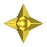 Goldene vier gezeigter Stern 3D Stockbild