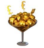 Goldene Währungszeichen und Eiscreme in der Schüssel Lizenzfreies Stockfoto