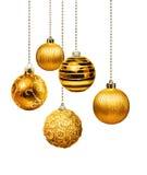 Goldene Weihnachtsbälle Stockfoto