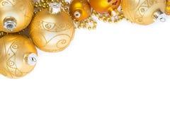 Goldene Weihnachtsbaumspielwaren lokalisiert auf der Draufsicht Stockfoto