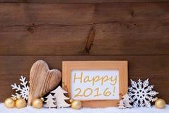 Goldene Weihnachtsdekoration, Schnee, glückliches 2016 Lizenzfreie Stockfotos