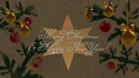 Goldene Weihnachtsdekoration und ein Stern hinter Hintergrund mit den Niederlassungen vektor abbildung