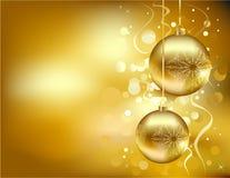 Goldene Weihnachtsdekorationen Stockfotografie