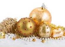 Goldene Weihnachtsdekorationen Stockfoto