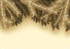 Goldene Weihnachtsgruß-Karte Lizenzfreie Stockbilder