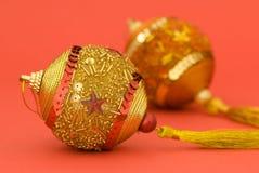 Goldene Weihnachtskugeln Lizenzfreies Stockbild