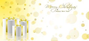Goldene Weihnachtspostkarte Stockfoto