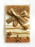 Goldene Weihnachtspostkarte Stockbilder