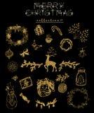 Goldene Weihnachtssammlung Lizenzfreie Stockbilder