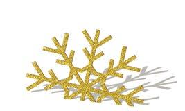 Goldene Weihnachtsschneeflocke Stockbilder