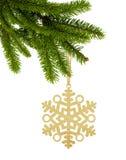 Goldene Weihnachtsschneeflocke auf Band auf grünem Baumast isolat Stockbilder