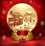 Goldene Weihnachtsschnekugel Lizenzfreies Stockfoto