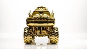 goldene Wiedergabe 3d eines großen Autos innerhalb eines Studios Stockfotos
