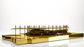goldene Wiedergabe 3d eines Stadions innerhalb eines Studios Stockbilder