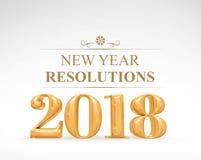 Goldene Wiedergabe der Beschlüsse 3d neuen Jahres des Farbe 2018 auf Weiß Lizenzfreies Stockbild