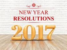 2017 goldene Wiedergabe der Farbe 3d der Beschlüsse des neuen Jahres auf weißem b Lizenzfreie Stockbilder
