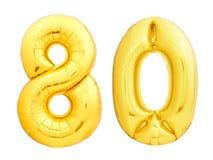 Goldene Zahl 80 achtzig machte vom aufblasbaren Ballon Lizenzfreies Stockfoto
