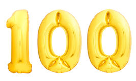 Goldene Zahl 100 hundert machte vom aufblasbaren Ballon Stockbilder