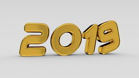 2019 goldene Zahlen lizenzfreie abbildung