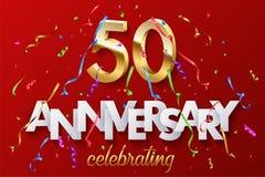 50 goldene Zahlen und Jahrestag, die Text mit buntem Serpentin und Konfettis auf rotem Hintergrund feiern Vektor lizenzfreie abbildung