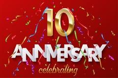 10 goldene Zahlen und Jahrestag, die Text mit buntem Serpentin und Konfettis auf rotem Hintergrund feiern Vektor stock abbildung