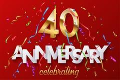40 goldene Zahlen und Jahrestag, die Text mit buntem Serpentin und Konfettis auf rotem Hintergrund feiern Vektor stock abbildung