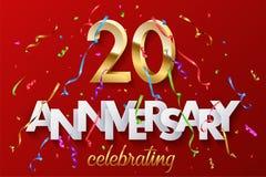 20 goldene Zahlen und Jahrestag, die Text mit buntem Serpentin und Konfettis auf rotem Hintergrund feiern Vektor vektor abbildung