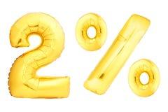 Goldene zwei Prozent gemacht von den aufblasbaren Ballonen Stockbild