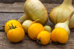 Goldene Zwiebel und gelbe Tomaten umweltfreundlich Lizenzfreie Stockfotografie