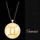Goldene Zwilling-hängende Halskette (EPS+JPG) Stockfotos