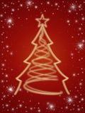 Goldener 3d Weihnachtsbaum im Rot Lizenzfreie Stockfotografie