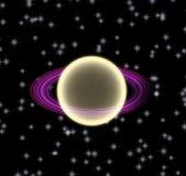 Goldener abstrakter Planet mit rotem Ring und Sternen Stockfotos